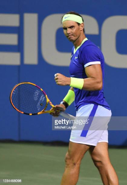 Rafael Nadal of Spain reacts during a match against Jack Sock of the United States on Day 5 during the Citi Open at Rock Creek Tennis Center on...