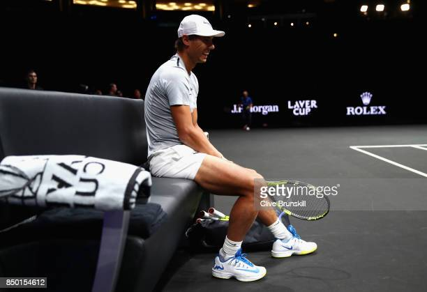 Rafael Nadal of Spain reacts during a training session ahead of the Laver Cup on September 20 2017 in Prague Czech Republic The Laver Cup consists of...