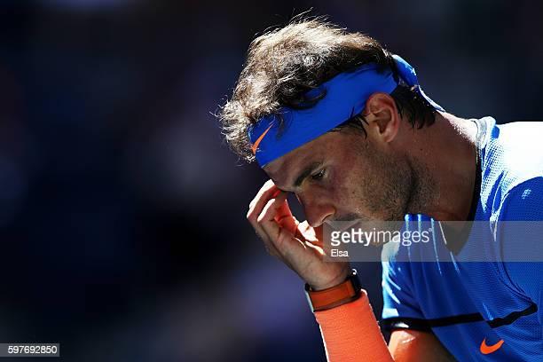 Rafael Nadal of Spain reacts during his first round Men's Singles match against Denis Istomin of Uzbekistan on Day One of the 2016 US Open at the...