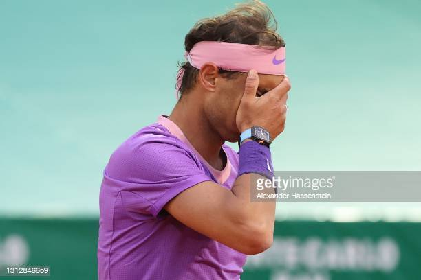 Rafael Nadal of Spain reacts during his match against Andrey Rublev of Russia during day six of the Rolex Monte-Carlo Masters at Monte-Carlo Country...