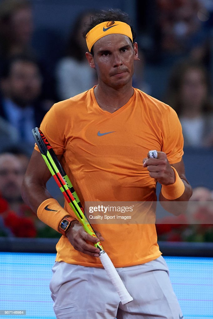 Rafael Nadal of Spain reacts during his match against Diego Schwartzman of Argentina during day six of the Mutua Madrid Open at La Caja Magica on May 10, 2018 in Madrid, Spain.