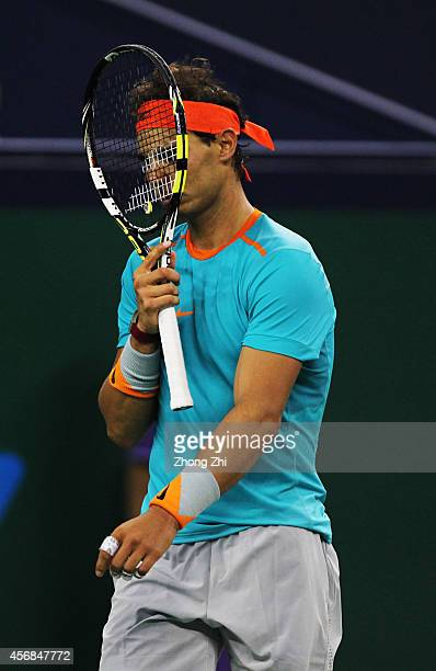 Rafael Nadal of Spain reacts during his match against Feliciano Lopez of Spain during the day 4 of the Shanghai Rolex Masters at the Qi Zhong Tennis...