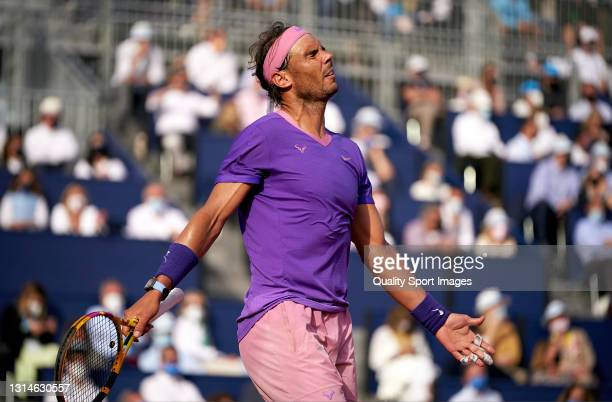 Rafael Nadal of Spain reacts during his Men's Singles final match against Stefanos Tsitsipas of Greece on day seven of the Barcelona Open Banc...
