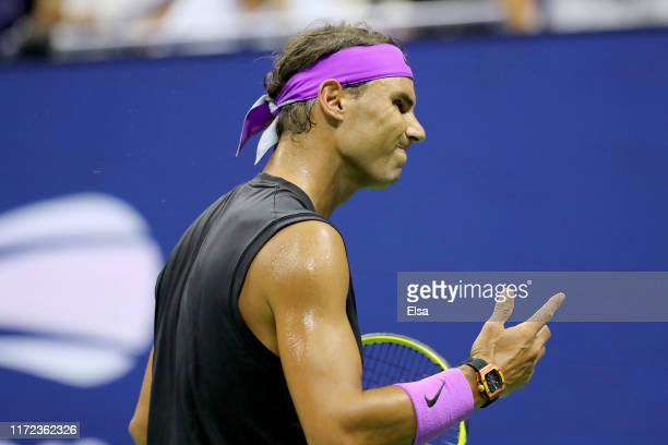 Rafael Nadal of Spain reacts during his Men's Singles quarterfinal match against Diego Schwartzman of Argentina on day ten of the 2019 US Open at the...
