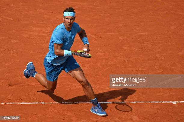 Rafael Nadal of Spain reacts during his mens singles third round match against Richard Gasquet of France during day 7 of the 2018 French Open at...
