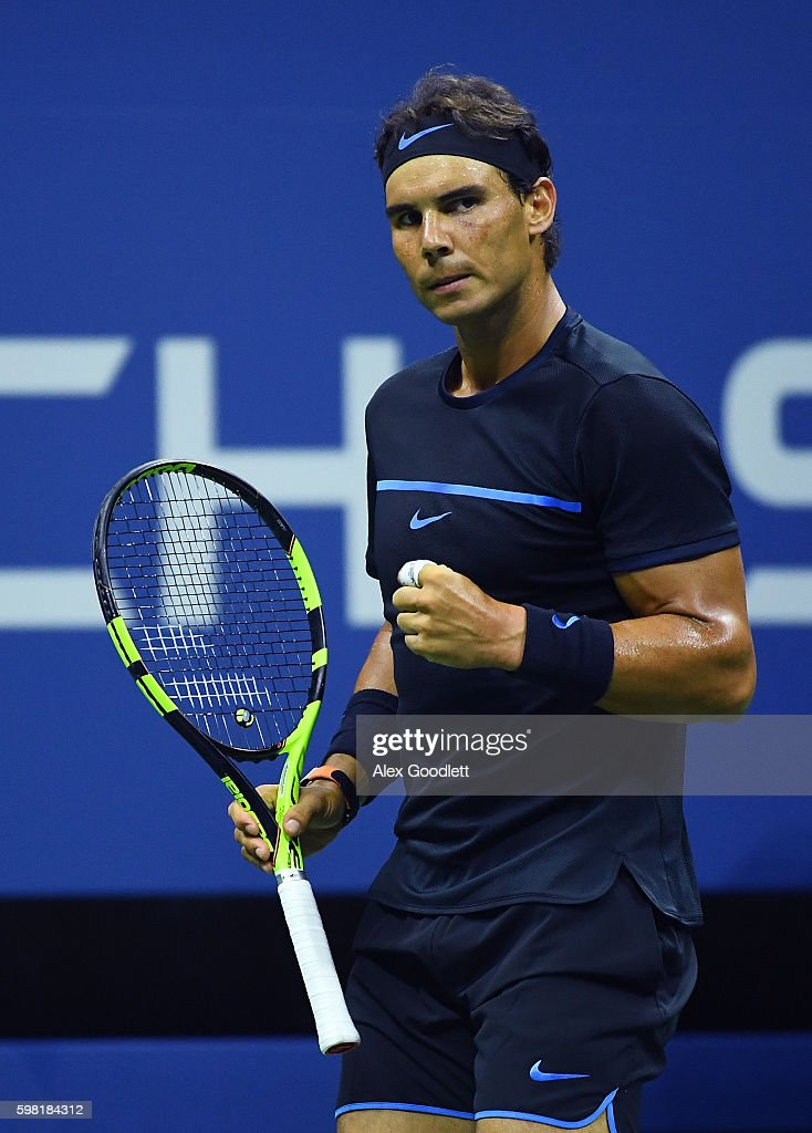 Rafael Nadal of Spain reacts during his second round Men's Singles match against Andreas Seppi of Italy on Day Three of the 2016 US Open at the USTA Billie Jean King National Tennis Center on August 31, 2016 in the Flushing neighborhood of the Queens borough of New York City.