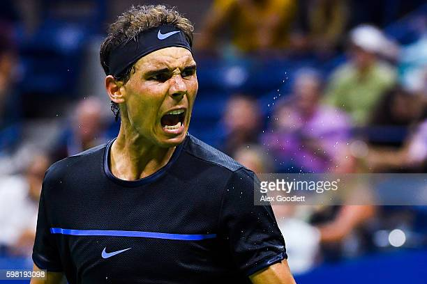 Rafael Nadal of Spain reacts during his second round Men's Singles match against Andreas Seppi of Italy on Day Three of the 2016 US Open at the USTA...