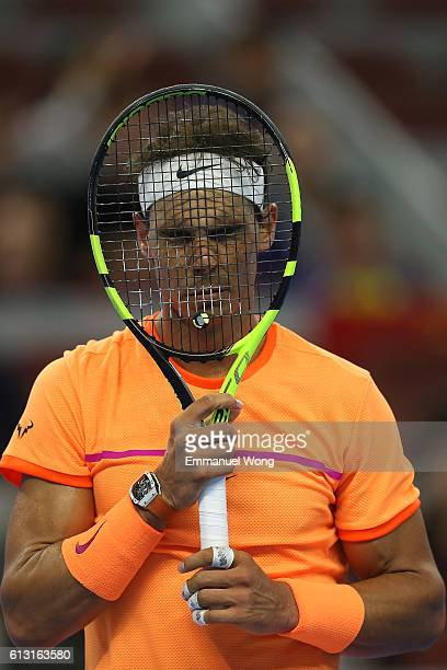 Rafael Nadal of Spain reacts during the Men's Singles Quarterfinals match against Grigor Dimitrov of Bulgaria on day seven of the 2016 China Open at...