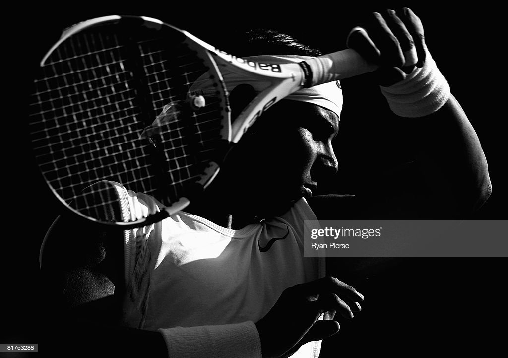 Rafael Nadal of Spain reacts during the men's singles round three match against Nicolas Kiefer of Germany on day six of the Wimbledon Lawn Tennis Championships at the All England Lawn Tennis and Croquet Club on June 28, 2008 in London, England.