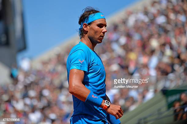 Rafael Nadal of Spain reacts during the men's singles third round game against Andrey Kuznetsov of Russia at Roland Garros on May 30, 2015 in Paris,...