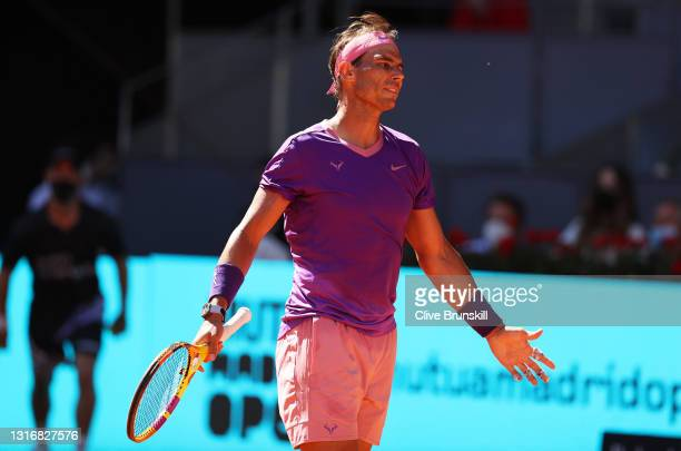 Rafael Nadal of Spain reacts during their Quarter Final match against Alexander Zverev of Germany during Day Nine of the Mutua Madrid Open at La Caja...