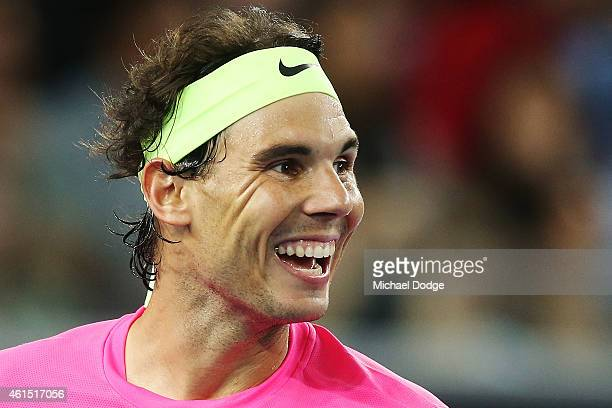 Rafael Nadal of Spain reacts in his match against Mark Philippoussis of Australia during Rafa's Summer Set at Melbourne Park on January 14 2015 in...