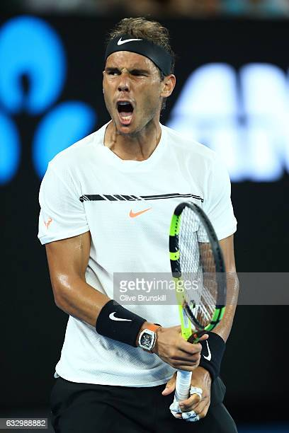 Rafael Nadal of Spain reacts in his Men's Final match against Roger Federer of Switzerland on day 14 of the 2017 Australian Open at Melbourne Park on...