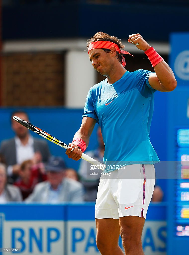 Rafael Nadal of Spain reacts in his men's singles first round match against Alexandr Dolgopolov of Ukraine during day two of the Aegon Championships at Queen's Club on June 16, 2015 in London, England.