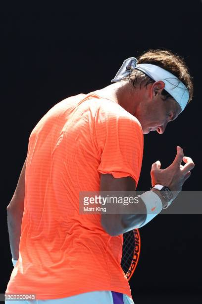 Rafael Nadal of Spain reacts in his Men's Singles fourth round match against Fabio Fognini of Italy during day eight of the 2021 Australian Open at...