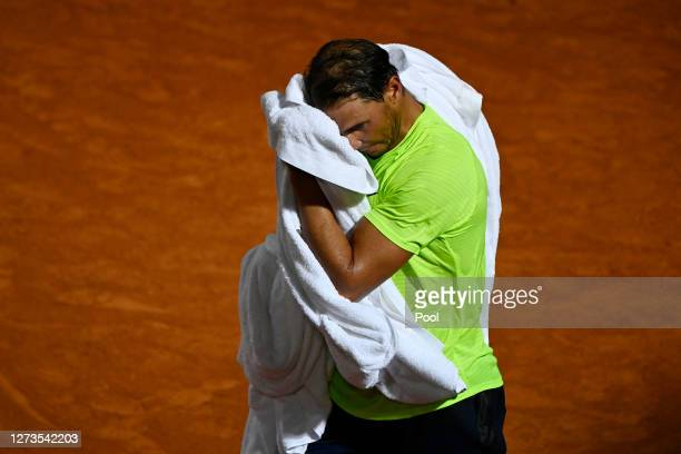 Rafael Nadal of Spain reacts in his quarterfinal match against Diego Schwartzman of Argentina during day six of the Internazionali BNL d'Italia at...