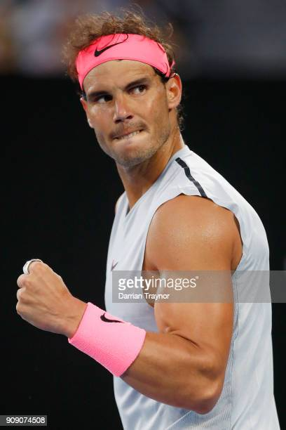 Rafael Nadal of Spain reacts in his quarterfinal match against Marin Cilic of Croatia on day nine of the 2018 Australian Open at Melbourne Park on...