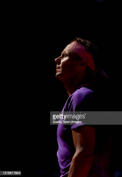Rafael Nadal of Spain reacts in his Quarterfinals match against Alexander Zverev of Germany on day nine of the Mutua Madrid Open tennis tournament at...