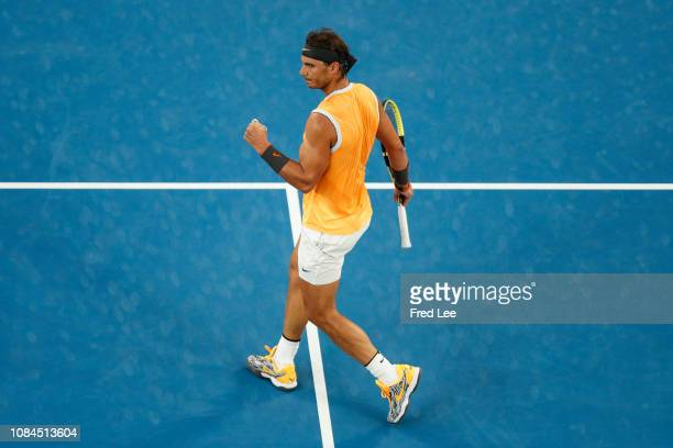 Rafael Nadal of Spain reacts in his third round match against Alex De Minaur of Australia during day five of the 2019 Australian Open at Melbourne...