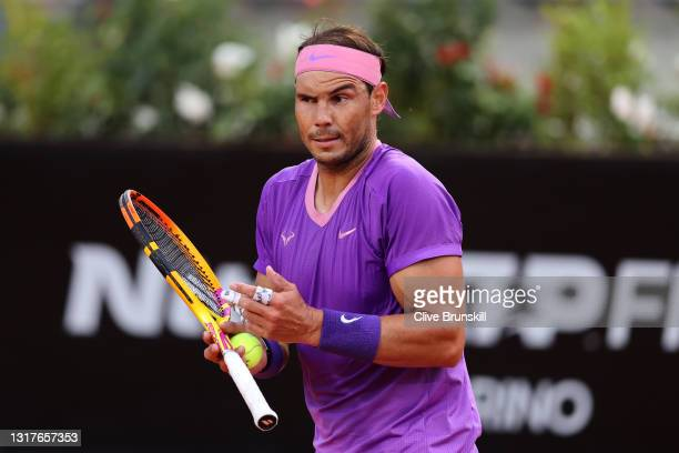 Rafael Nadal of Spain reacts to a missed point on day 5 of the Internazionali BNL d'Italia match between Rafael Nadal of Spain and Jannik Sinner of...