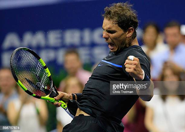 Rafael Nadal of Spain reacts to a point during his match against Andrey Kuznetsov of Russia during his third round Men's Singles match on Day Five of...