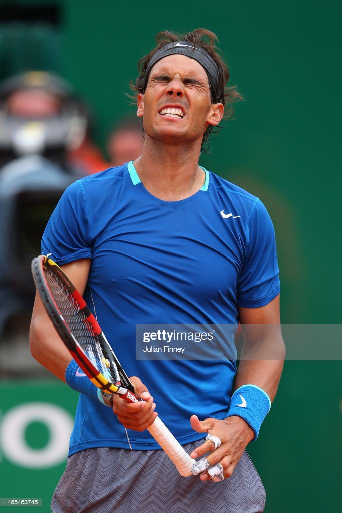 Rafael Nadal of Spain reacts to a point in his match against David Ferrer of Spain during day six of the ATP Monte Carlo Rolex Masters Tennis at Monte-Carlo Sporting Club on April 18, 2014 in Monte-Carlo, Monaco.