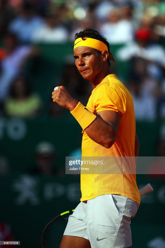 Rafael Nadal of Spain reacts to beating Karen Khachanov of Russia during the mens singles 3rd round match on day five of the Rolex Monte-Carlo Masters at Monte-Carlo Sporting Club on April 19, 2018 in Monte-Carlo, Monaco.