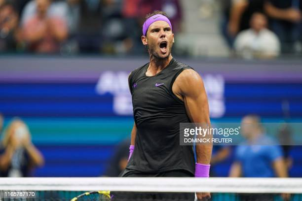 Rafael Nadal of Spain reacts to his victory against Marin Cilic of Croatia in their Round Four Men's Singles tennis match during the 2019 US Open at...