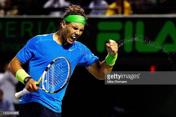 Rafael Nadal of Spain reacts to winning a match against JoWilfried Tsonga of France during Day 10 of the Sony Ericcson Open at Crandon Park Tennis...