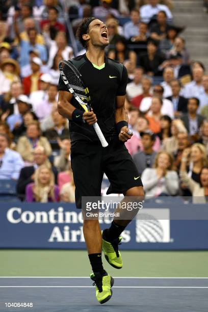 Rafael Nadal of Spain reacts while playing against Novak Djokovic of Serbia during his men's singles final match on day fifteen of the 2010 US Open...