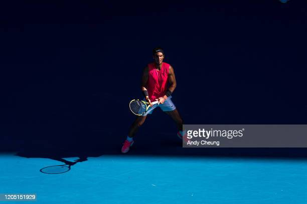 Rafael Nadal of Spain ready to receive a serve during his Men's Singles match against Pablo Carreno Busta of Spain on day six of the 2020 Australian...