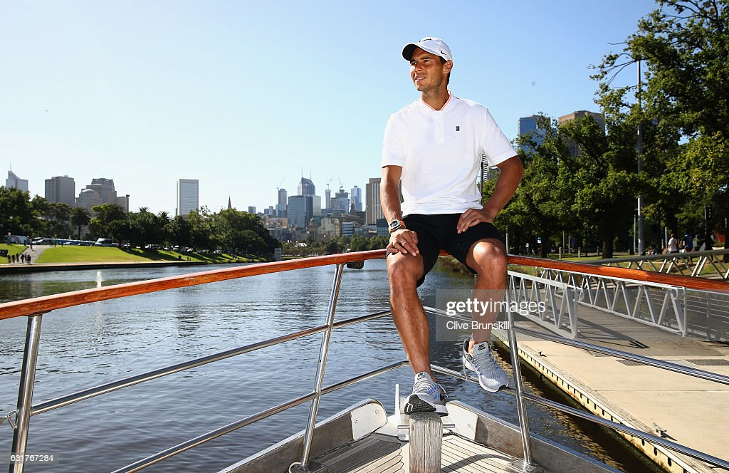 Rafael Nadal of Spain relaxes on a boat along the Yarra river ahead of the 2017 Australian Open at Melbourne Park on January 15, 2017 in Melbourne, Australia.