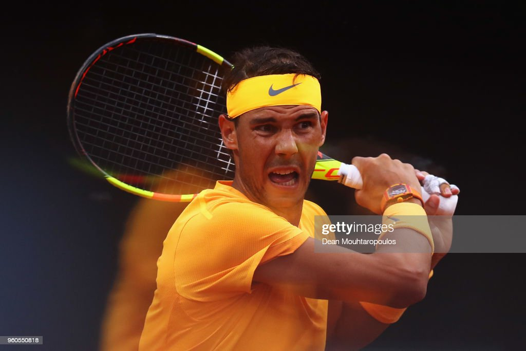 Rafael Nadal of Spain returns a backhand in his Mens Final match against Alexander Zverev of Germany during day 8 of the Internazionali BNL d'Italia 2018 tennis at Foro Italico on May 20, 2018 in Rome, Italy.