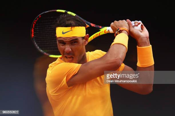 Rafael Nadal of Spain returns a backhand in his Mens Final match against Alexander Zverev of Germany during day 8 of the Internazionali BNL d'Italia...