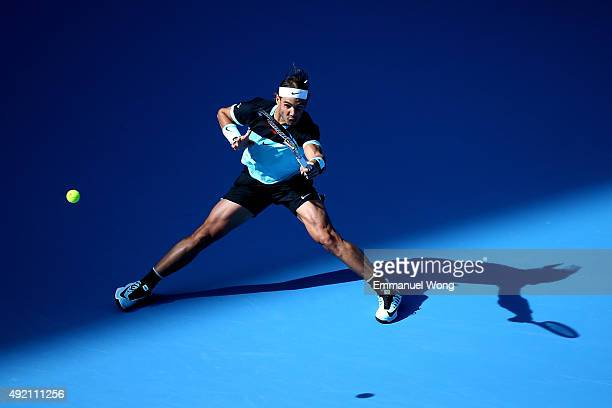 Rafael Nadal of Spain returns a ball against Fabio Fognini of Italy during the man's single semifinal of the 2015 China Open at the China National...