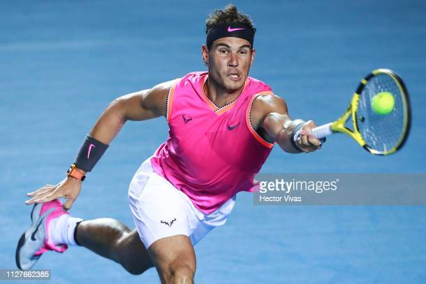 Rafael Nadal of Spain returns a ball during the match between Rafael Nadal of Spain and Mischa Zverev of Germany as part of the day 2 of the Telcel...
