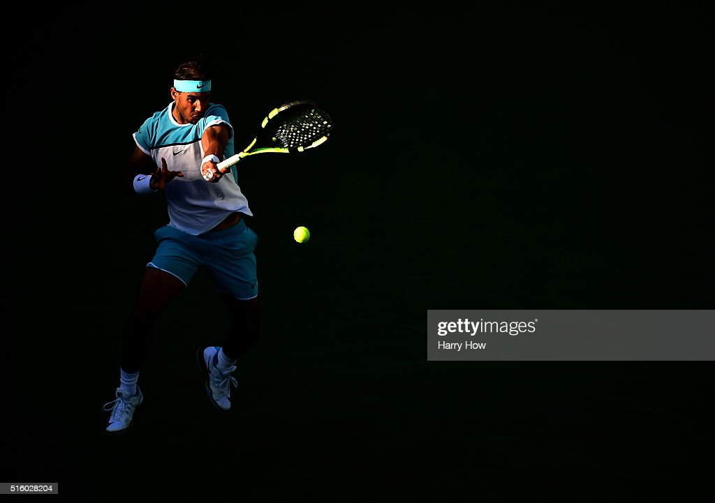 Rafael Nadal of Spain returns a forehand during his match against Alexander Zverev of Germany at Indian Wells Tennis Garden on March 16, 2016 in Indian Wells, California.