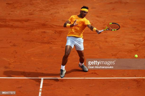 Rafael Nadal of Spain returns a forehand in his Mens Final match against Alexander Zverev of Germany during day 8 of the Internazionali BNL d'Italia...