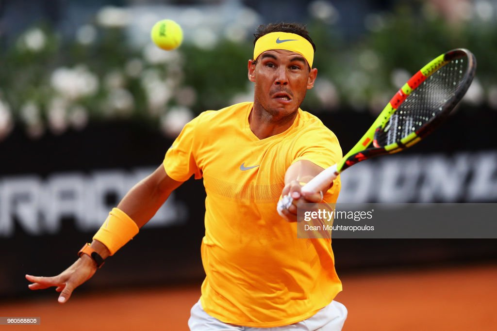 Rafael Nadal of Spain returns a forehand in his Mens Final match against Alexander Zverev of Germany during day 8 of the Internazionali BNL d'Italia 2018 tennis at Foro Italico on May 20, 2018 in Rome, Italy.