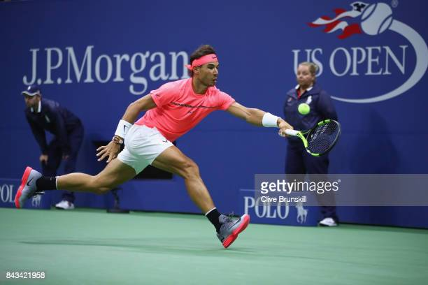 Rafael Nadal of Spain returns a shot against Andrey Rublev of Russia during their Men's Singles Quarterfinal match on Day Ten of the 2017 US Open at...