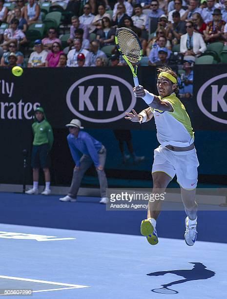 Rafael Nadal of Spain returns a shot against Fernando Verdasco of Spain during day two of the 2016 Australian Open at Melbourne Park on January 19...