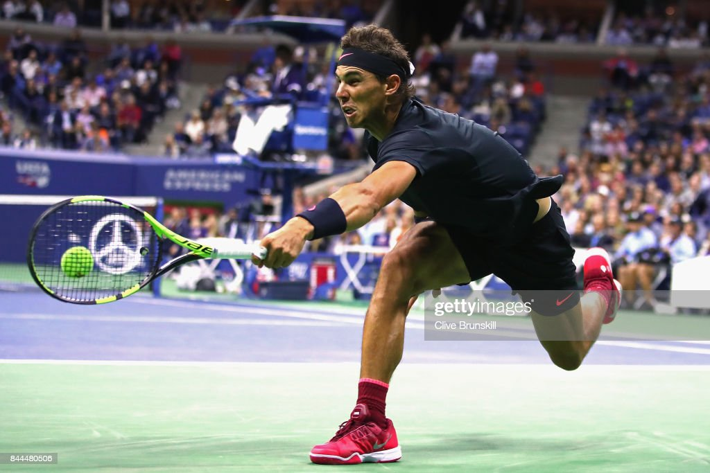 Rafael Nadal of Spain returns a shot against Juan Martin del Potro of Argentina during their Men's Singles Semifinal match on Day Twelve of the 2017 US Open at the USTA Billie Jean King National Tennis Center on September 8, 2017 in the Flushing neighborhood of the Queens borough of New York City.