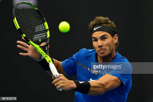 Rafael Nadal of Spain returns a shot against Karen Khachanov of Russia during the Men's singles 2rd round on day six of 2017 China Open at the China...