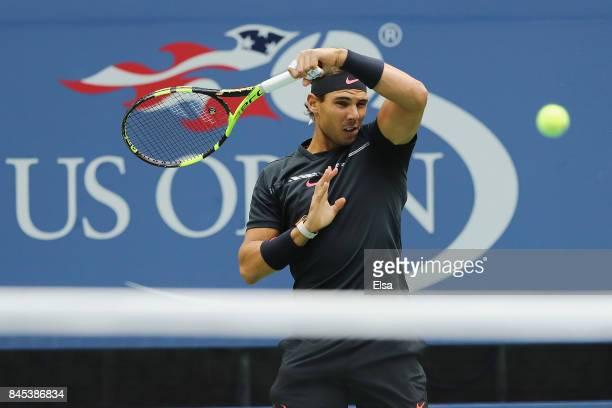 Rafael Nadal of Spain returns a shot against Kevin Anderson of South Africa during their Men's Singles finals match on Day Fourteen of the 2017 US...
