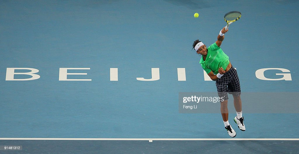 Rafael Nadal of Spain returns a shot against Marcos Baghdatis of Cyprus in his first round match during day five of the 2009 China Open at the National Tennis Centre on October 6, 2009 in Beijing, China.