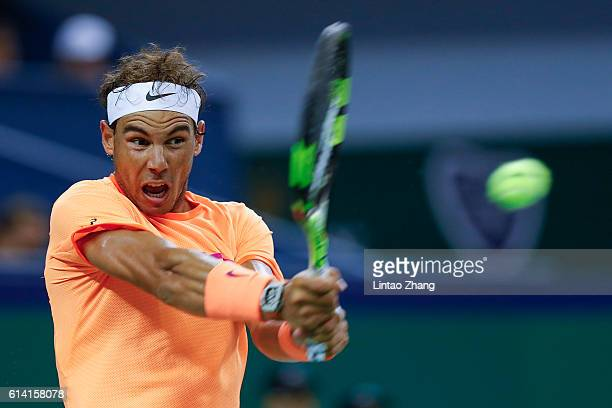 Rafael Nadal of Spain returns a shot against Viktor Troicki of Serbia during the Men's singles second round match on day four of Shanghai Rolex...