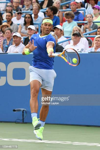 Rafael Nadal of Spain returns a shot during a match against Jack Sock of the United States on Day 5 during the Citi Open at Rock Creek Tennis Center...