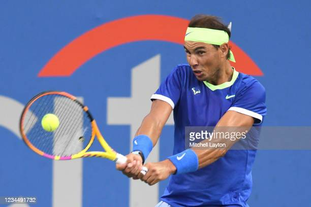 Rafael Nadal of Spain returns a shot during a match against Lloyd Harris of South Africa on Day 6 during the Citi Open at Rock Creek Tennis Center on...