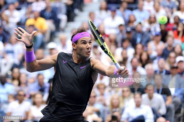 Rafael Nadal of Spain returns a shot during his Men's Singles final match against Daniil Medvedev of Russia on day fourteen of the 2019 US Open at...