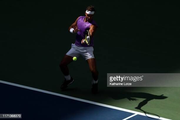 Rafael Nadal of Spain returns a shot during his Men's Singles third round match against Hyeon Chung of South Korea on day six of the 2019 US Open at...